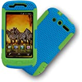 MINITURTLE, 2 in 1 Mesh Hybrid Hard Phone Case Cover, Jaw Phone Stand, and Clear Screen Protector Film for Htc Mytouch 4g 2010 /T-mobile (Light Blue / Green)