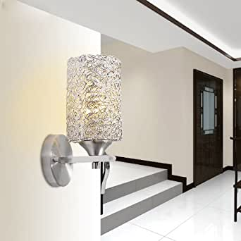Wall Sconces Beside Tv : Amazon.com - Silver Aluminum Wire cylinder Corridor Bathroom Wall Light Bedroom Beside Polished ...