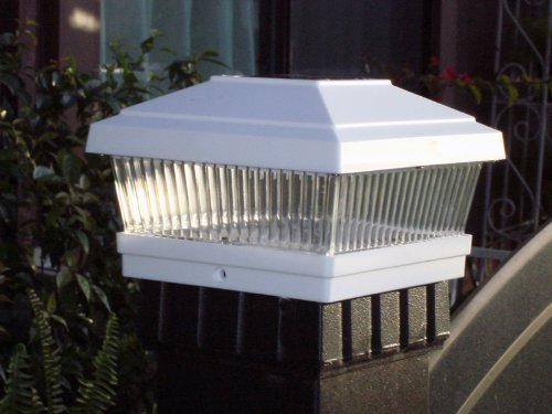 Solar Fence Post Cap LED Light for 5″x5″ Posts, White, 12 Pack