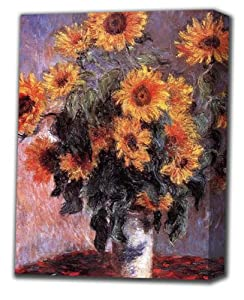 "Claude Monet Sunflowers Print Canvas Art with Oil Brush 18"" x 24"" x 1.5"""