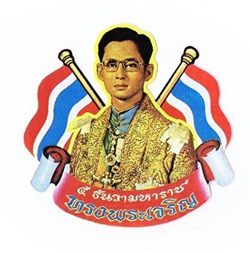タイ 王室 ステッカー プミポン国王(ラーマ9世) 肖像 + 国旗 Mサイズ 1枚 [タイ雑貨 Thailand Sticker]