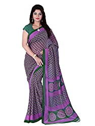 LOVELY LOOK Pink & Green Printed Saree
