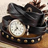 Ailisha Lady Women Wrap Around Bracelet Black Long Leather Quartz Watch WAA340