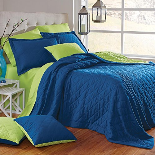 Brylanehome Studio Quilted Reversible Bedspread (Ocean Blue Green Apple,Queen)