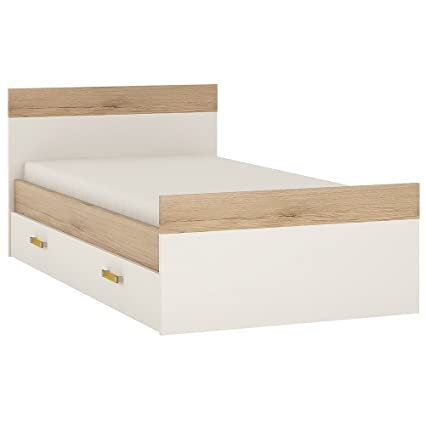 Furniture To Go 4Kids Single Bed with Under-Drawer with Orange Handles, Wood, White Gloss/Light Oak