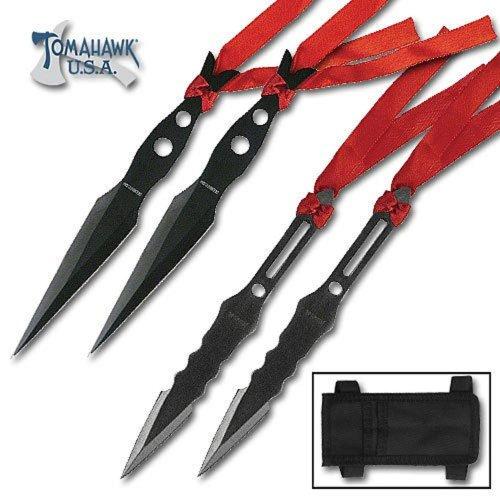 4 Piece Black Throwing Knife Set