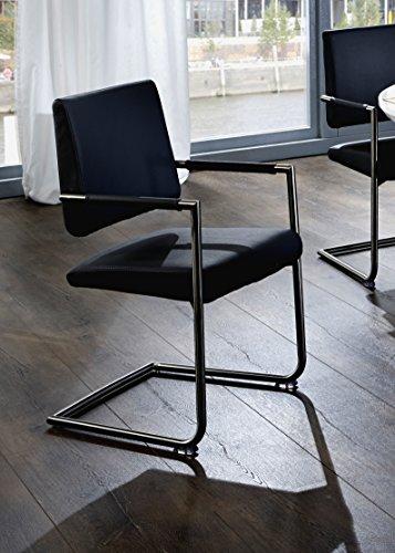 SAM-Polster-Stuhl-Freischwinger-Oland-in-schwarz-Schwingstuhl-mit-SAMOLUX-Bezug-chromfarbene-Edelstahlfe-angenehme-Polsterung-fr-optimalen-Sitzkomfort