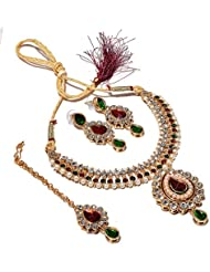 Jewar Necklace Set Kundan Polki Jade Red Green Gemstone With Tika Jewelry 6749
