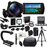 Sony FDR-AX100/B 4K Video Camera with 3.5-Inch LCD (Black) with SSE Accessory Bundle Kit which Includes 3 Piece Multi-Coated Filter Kit, 4 Piece Macro Closeup Lens Set, Lens Tulip Hood, 2 Replacement NP-FV100 Batteries, Rapid Travel Charger, Micro HDMI, LED Video Light, Scorpion Stabilizer, 72 Inch PRO Tripod, Carrying Case plus MORE