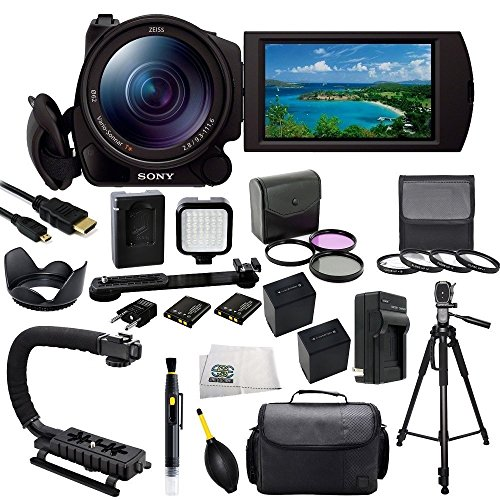 Sony FDR-AX100/B 4K Video Camera with 3.5-Inch LCD (Black) with SSE Accessory Bundle Kit which Includes 3 Piece Multi-Coated Filter Kit, 4 Piece Macro Closeup Lens Set, Lens Tulip Hood, 2 Replacement NP-FV100 Batteries, Rapid Travel Charger, Micro HDMI, LED Video Light, Scorpion Stabilizer, 72 Inch PRO Tripod, Carrying Case plus MORE (Tulip Hood And Battery compare prices)