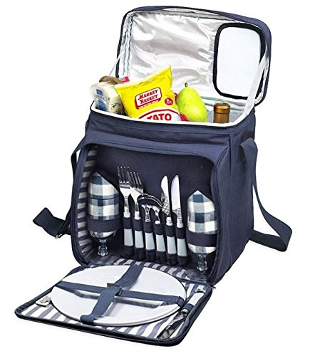 New Blue Insulated Picnic Basket - Lunch Tote Cooler Backpack w/ Flatware Two Place Setting