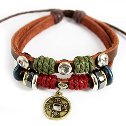 MORE FUN Retro Charm Ancient Coin Pendant Transparent Crystal 2 Row Brown Leather Bracelet (Power Lifter Leg Wraps compare prices)