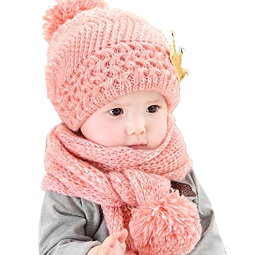 Coper Cute Winter Baby Girls Boys Warm Woolen Coif Hood Scarf Caps Hats (Pink)