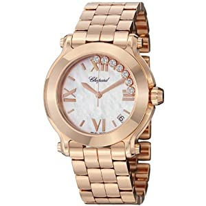 Chopard Happy Sport Round Ladies Mother of Pearl Dial Rose Gold Diamond Watch 277472-5002