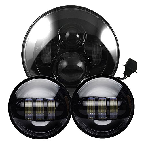 Black Harley Daymaker 7 Inch Round LED Headlight with Matching Black 4.5 Inch LED Passing Lamps for Harley Davidson Motorcycles (Black Harley Davidson Headlight compare prices)