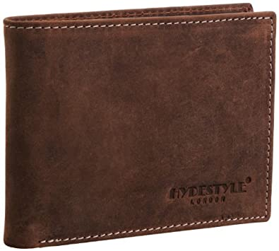 Hydestyle Mens Venator Distressed Leather Trifold Wallet