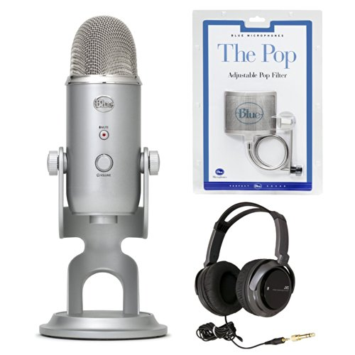 Blue Microphones Yeti Usb Microphone With Jvc Full-Size Headphones And The Pop Universal Pop Filter