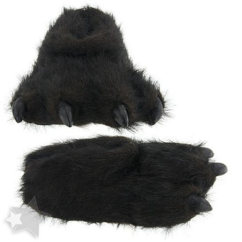 Cheap Fuzzy Black Bear Claw Slippers for Women and Men (B00869DON2)