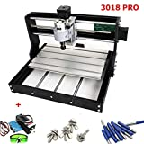 3 Axis CNC 3018 PRO GRBL DIY Mini Engraving Milling Rounter Laser Machine Working Area 30x18x4.5cm + 5500mW 450nW Laser with Protective Glasses (Color: 3018PRO + 5500MW Laser)