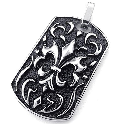 "Konov Jewelry Mens Biker Gothic Knight Fleur De Lis Stainless Steel Pendant Necklace, Black Silver, 26"" Inch Chain"