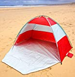 UKHobbyStore Red Beach Tent & Festival Shelter with Closing Door & Sand Pockets - SPF40 Sun Protection