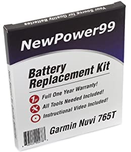 Garmin Nuvi 765T Battery Replacement Kit with Installation Video, Tools, and Extended Life Battery.