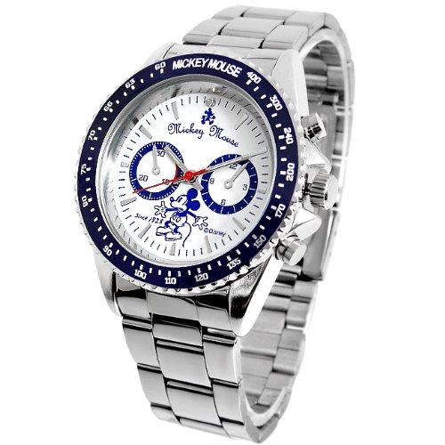 Disney ディズニー クロノグラフモデル レトロミッキー 回転ベゼル腕時計 ホワイト×ブルー 白 青【並行輸入品】[時計]