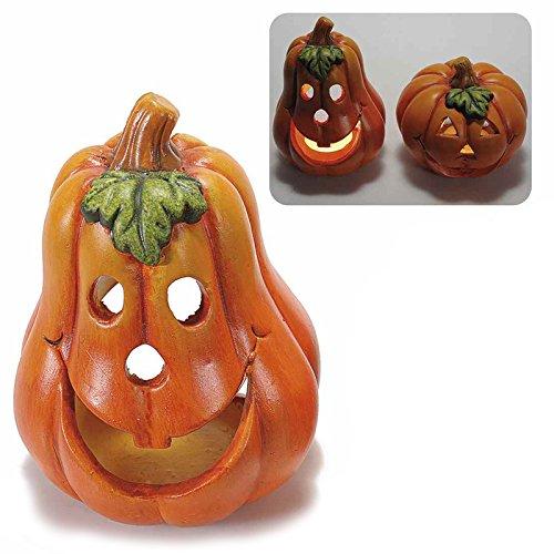 Zucca porta candela di Halloween in ceramica a pera. ZUCCHE FESTA