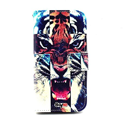 Bayke Brand / Lg G3 Case Pu Leather Wallet Type Flip Case Cover With Credit Card Holder Slots For Lg G3 2014 Smartphone (Beautiful Nebula Galaxy Tiger Cross Print)