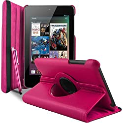 Gioiabazar 360 Degree Rotating Smart Leather Case Cover For Asus Google Nexus 7 2012 1st Generation Tablet Hot Pink GB10132