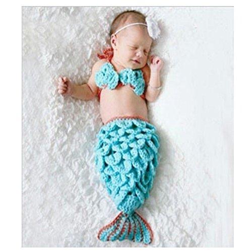 DAYAN weiche handgemachte Häkelarbeit-Knit Baby-Fotografie Props Niedliche Baby-Meerjungfrau-Outfits, Meerjungfrau-Kostüm für Baby (0-6 Monate)