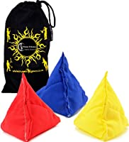 "3x ""Tri-It"" Juggling Balls - Set of 3 Pyramid Juggling Sacks, Bean Bags For Kids & Adults +Fabric Travel Bag. (Yellow/Red/Blue) by Flames 'N Games"