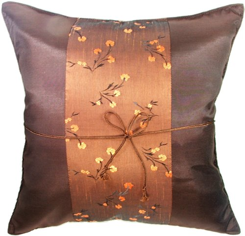 "Artiwa Brown Floral 16""x16"" Silk Sofa Couch Decorative Throw Accent Pillow Cover Gift Idea"