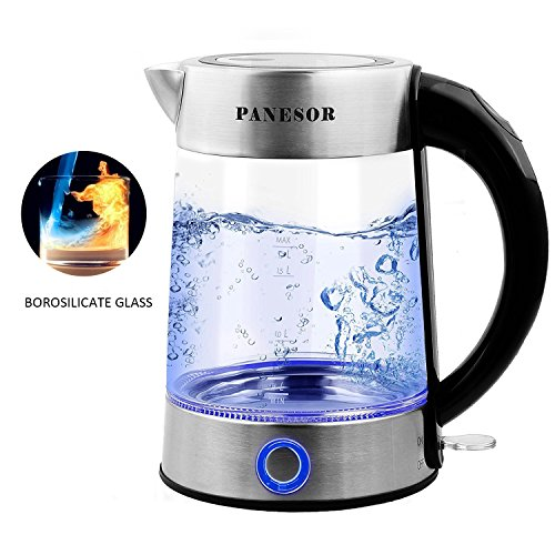 Panesor 1.7 Liter Glass Electric Kettle Cordless for Tea, Electric Hot Water Kettle with Blue LED Illumination (All Glass Kettle compare prices)
