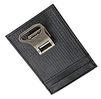 genuine leather money clip front pocket wallet with bottle opener at amazon men s clothing store. Black Bedroom Furniture Sets. Home Design Ideas