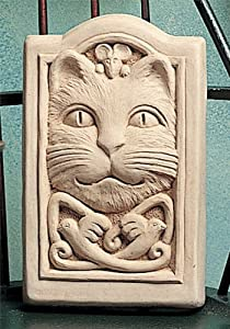 """CELTIC Knot CAT Face Mouse WALL PLAQUE Garden OUTDOOR Indoor DECOR 4.75"""""""