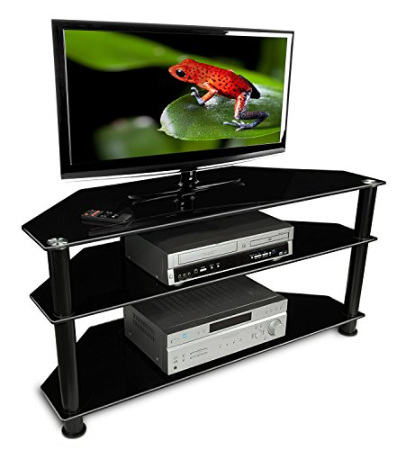 Mount-It! MI-850 TV Stand Shelving Furniture LCD LED Plasma for TVs Between 30 and 50 Inches, 3 Tempered Glass Shelves for Media Cabinet Unit with Powder Coated Aluminum Columns, Black (Led Fireplace Stand compare prices)