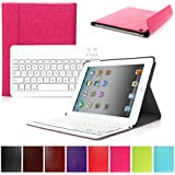 CoastCloud Really Thin Smart Cover Faux Leather Front Back Case Bluetooth Wireless UK Layout Keyboard For iPad 2 3 4