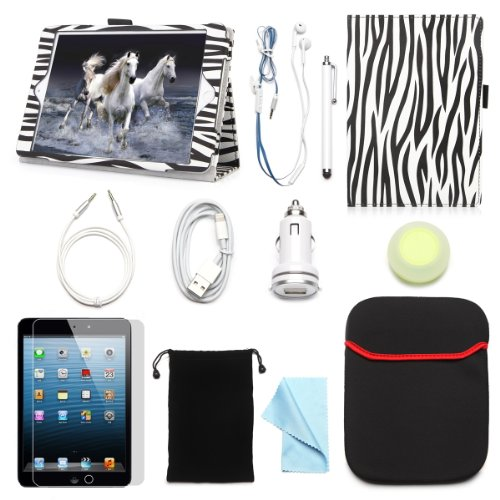 """Arion Ipad Mini 7.9"""" 11-Item Accessory Bundle Kit For Apple Ipad Mini - Folio Stand Pu Leather Case, Screen Protector, Cleaning Cloth, Stylus Pen,Car Charger,Usb Sync Cable, Aux Cable, Earphone, Wire-Holding Box, Sleeve Case, Drawstring Travel Pouch (Blac"""