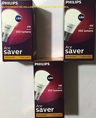Philips 4W Ace Saver B22 LED Bulb (Warm White, Pack of 3)