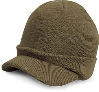 Result - Bonnet casquette visière RC60 - laine - mixte adulte - coloris noir