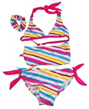 Number One Girls Stripe Swim Bikini Rash Guard Set