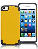 "myLife Yellow + Gray Style 2 Layer (Hybrid Flex Gel) Grip Case for New Apple iPhone 5C Touch Phone (External Single Piece Full Body Defender Armor Rubberized Shell + Internal Gel Fit Silicone Flex Protector) ""Attention: This case comes grip easy smooth silicone that slides in to your pocket easily yet won't slip out of your hand"""