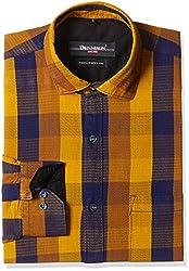 Dennison Men's Formal Shirt (SS-16-402_42_Yellow)