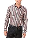 Perry Ellis Big Tall Men Brown Striped Long Sleeve Button Down Shirt, LT