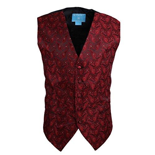EGC1B08D-3XL Rosso Nero Paisley lusso Signori Gilet in tessuto microfibra Shandmade negozio XXX-Large Gilet di Epoint