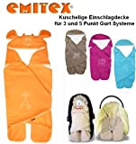 Emitex MULTI - Spring / Summer / Autumn -- NO UNTHREADING of Seat Belts -- Swaddling Wrap, Car Seat and Pram Blanket, Universal for Car Seat (e.g., Maxi-Cosi, Römer, etc.), for Pram, Buggy or Baby Bed -- ORANGE