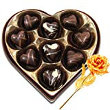 Valentine Chocholik Premium Gifts - Magic Selection Of Chocolates Box With 24k Gold Plated Rose