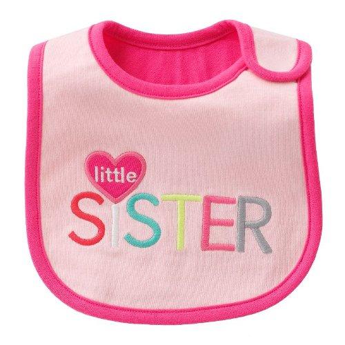 "Carter'S ""Little Sister"" Pink Baby Teething/Feeding Bib front-161224"