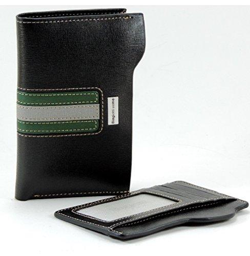 LAURA BIAGIOTTI Uomo Portafoglio e Porta carte di credito 2 in 1 in Similpelle e vera pelle. Nero